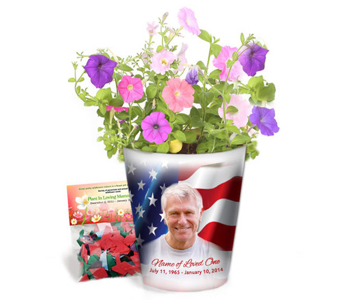US Flag Personalized Memorial Ceramic Flower Pot