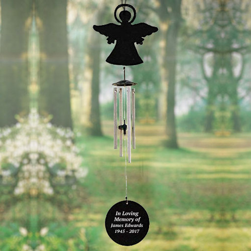 Personalized Angel Silhouette In Loving Memory Memorial Wind Chime