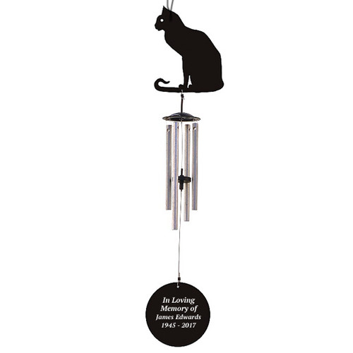 Personalized Cat Silhouette In Loving Memory Memorial Wind Chime