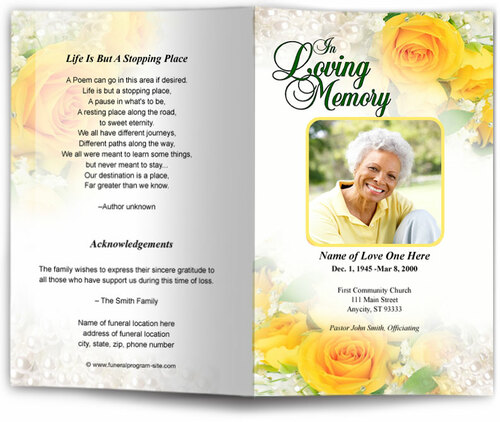 joyful yellow funeral program template