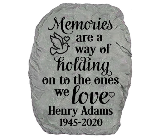 Personalized Holding Memories Memorial Garden Stone