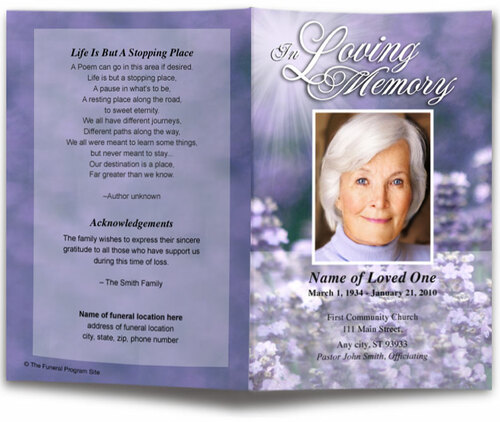 lilac funeral program template