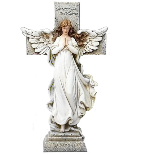 Personalized Memorial Angel and Cross Garden Statue