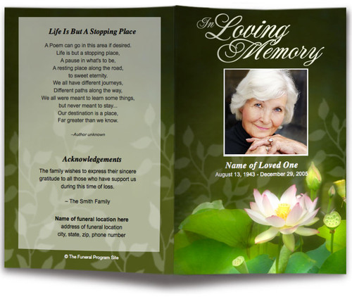 lotus funeral program template