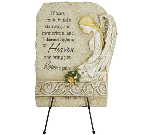 Personalized Kneeling Angel Memorial Garden Plaque
