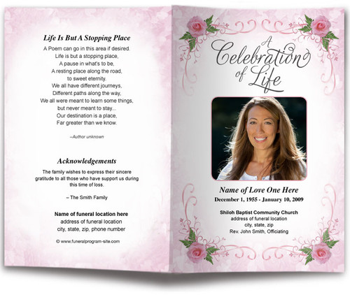 pink lovely funeral program template