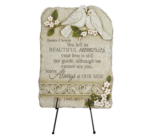 Personalized Peaceful LoveBirds Memorial Garden Plaque