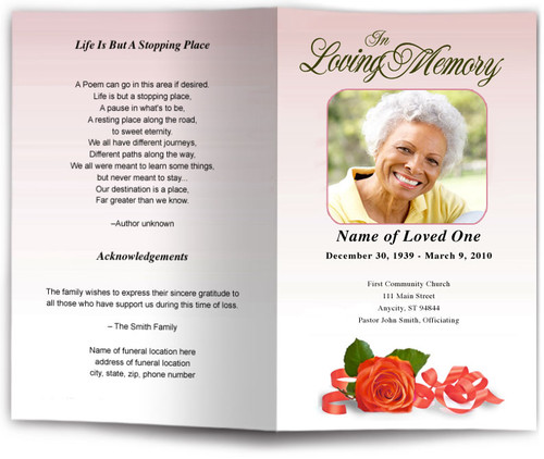 red memory funeral program template