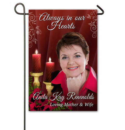 Candlelight Personalized Memorial Garden Flag