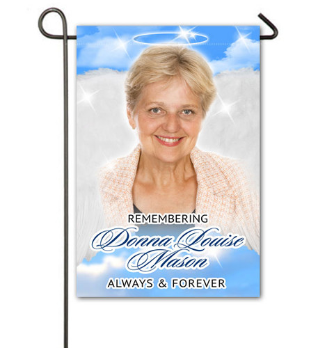 Heavenlies Personalized Memorial Garden Flag