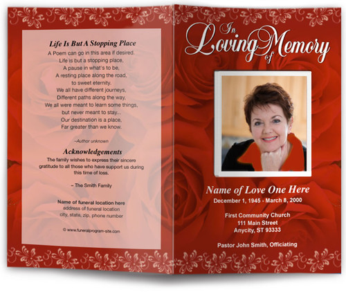 red passion funeral program template