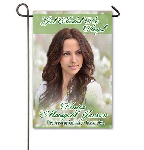 White Flowers Personalized Memorial Garden Flag
