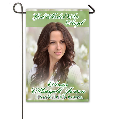 White Flowers Personalized Memorial Garden Flag