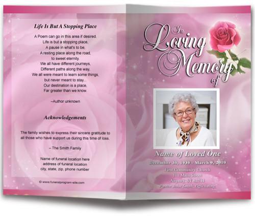 pink petals funeral program template