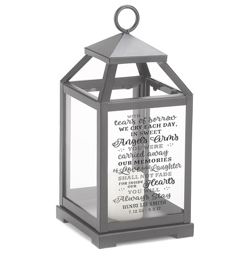 Angel Arms Memorial Lantern With Wax Candle