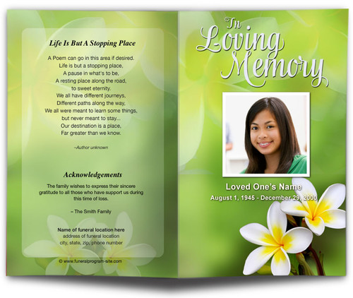 plumeria funeral program template