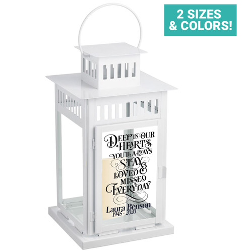 Deep In Our Hearts Memorial Lantern With LED Candle