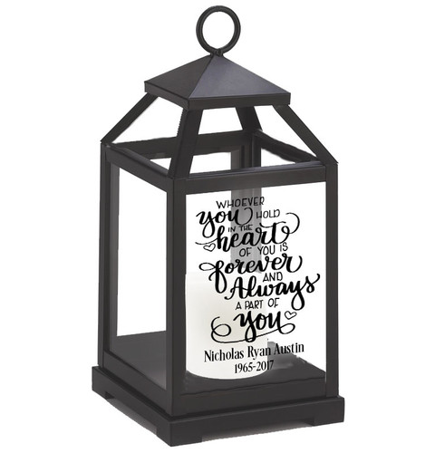 Heart Holds Memorial Lantern With LED Candle