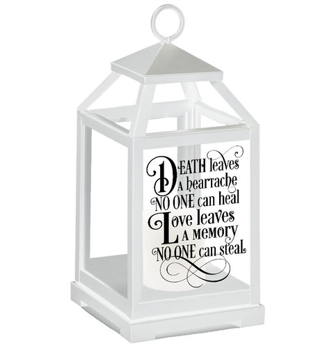 Love Leaves A Memory Memorial Lantern With LED Candle