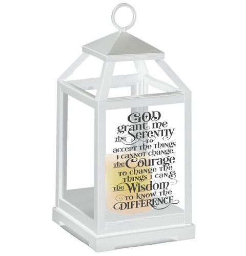 Serenity Prayer Memorial Lantern With LED Candle