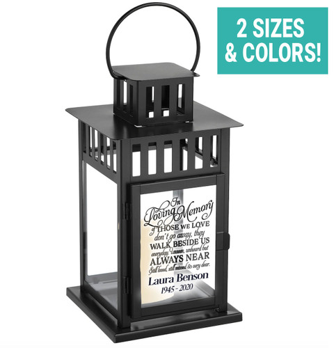 Walk Beside Us Personalized Memorial Lantern With Wax Candle