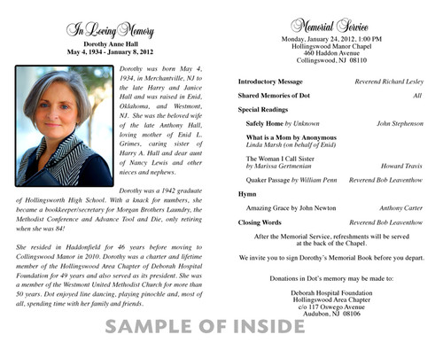 Bread of Heaven Funeral Program Paper