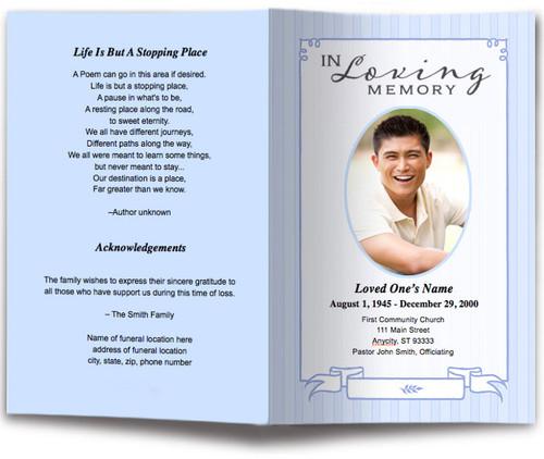blue posy funeral program template