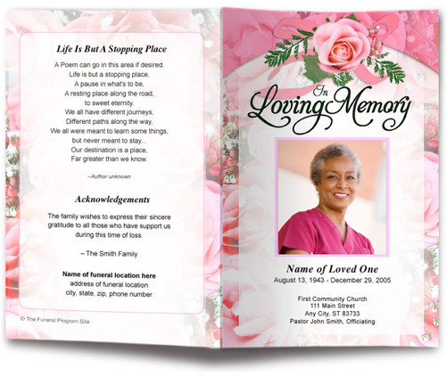 pink precious funeral program template