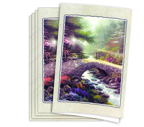 Thomas Kinkade Bridge of Faith Funeral Program Paper