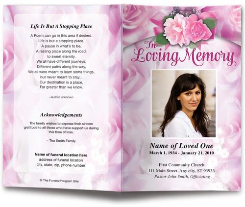 pink rapture funeral program