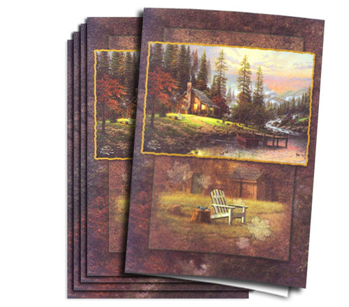 Thomas Kinkade Peaceful Retreat Funeral Program Paper