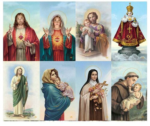 Catholic Mass Assorted Halo Prayer Card Paper