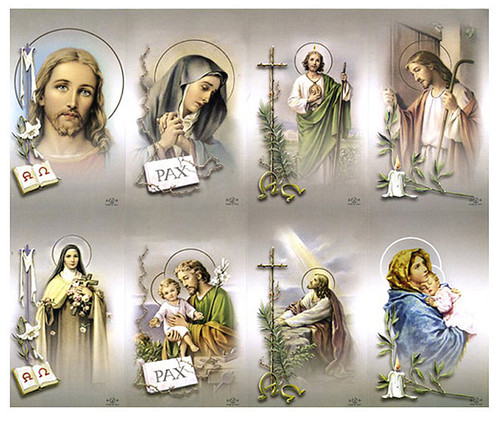 Catholic Mass Cards Tan Assorted Prayer Card Paper (Set of 8)