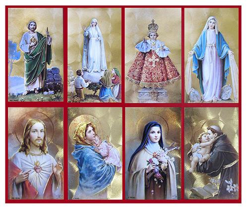 Gold Emboss Red Trim Assorted Catholic Prayer Card Paper (Set of 8)
