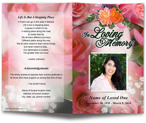 rosy funeral program template