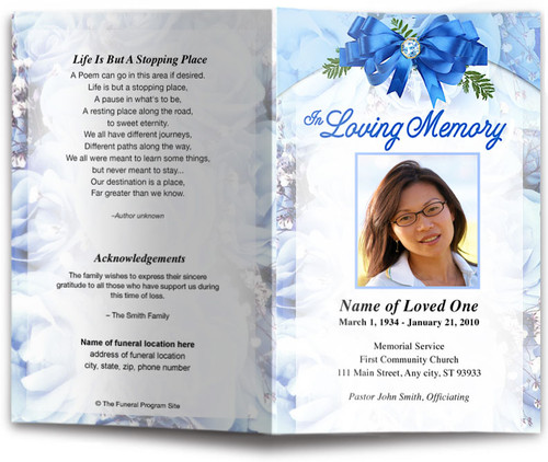 royal blue funeral program template