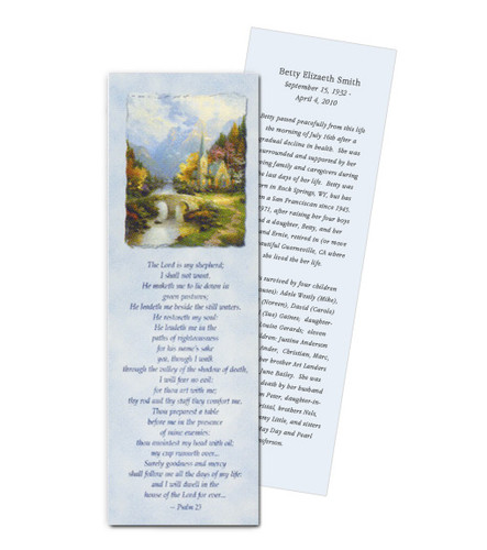 Thomas Kinkade® Mountain Chapel Memorial Bookmark Paper (Set of 4)