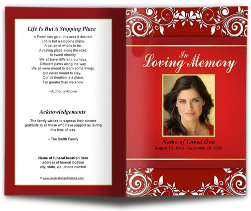 ruby funeral program template