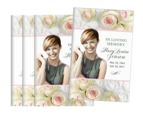 Blush Roses Bifold Funeral Program Design & Print (Pack of 25)