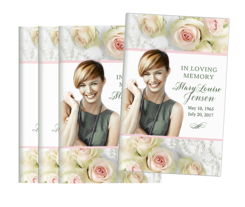 Blush Roses Bifold Funeral Program Design & Print (Pack of 25)