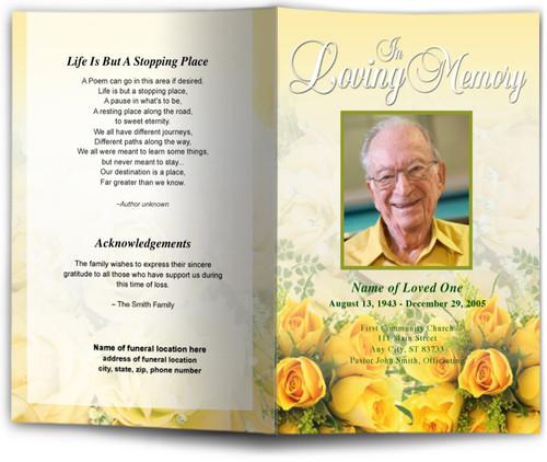 saffron funeral program template diy funeral programs