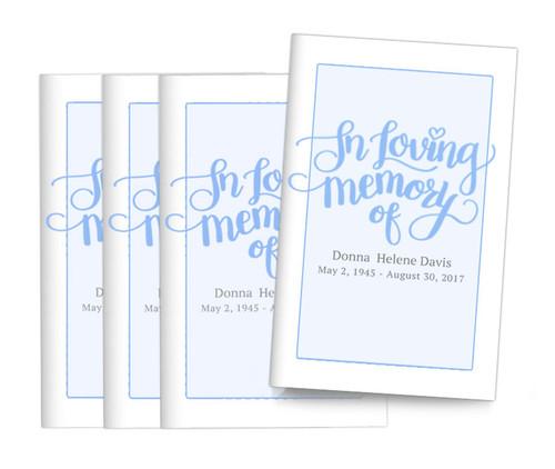 Brush Lettering Bifold Funeral Program Design & Print (Pack of 25)