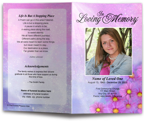 sparkle funeral program template
