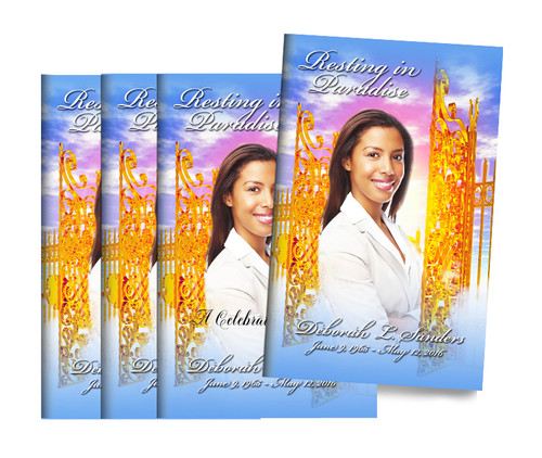 Resting Paradise Bifold Funeral Program Design & Print (Pack of 25)