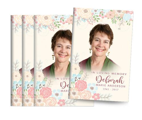 Spring Flowers Center Fold Funeral Program Design & Print
