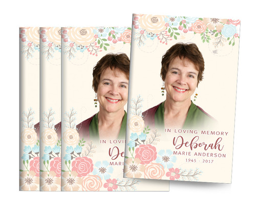 Spring Flowers Bifold Funeral Program Design & Print (Pack of 25)