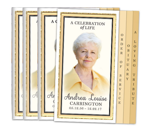 24K 8-Sided Graduated Funeral Program Design & Print (Pack 25)
