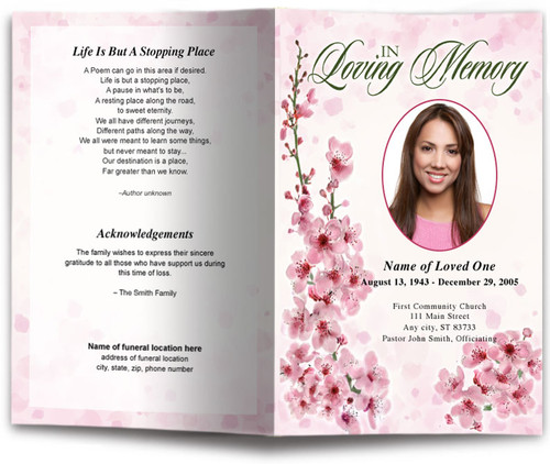pink spring funeral program template