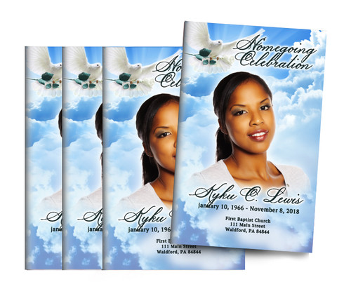 Peaceful Skies Bifold Funeral Program Design & Print (Pack of 25)