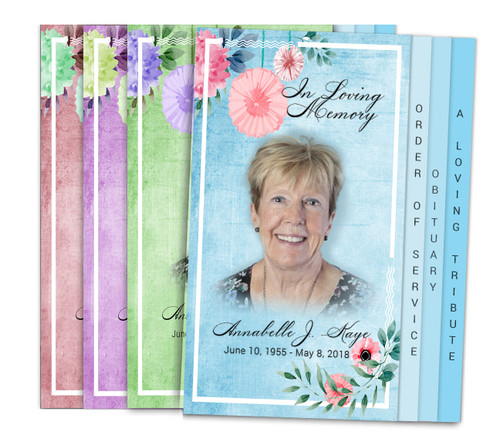 Florals 8-Sided Graduated Funeral Program Design & Print (Pack 25)